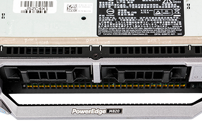 Dell M820 blade server detail of front of system showing two drive bays and branding