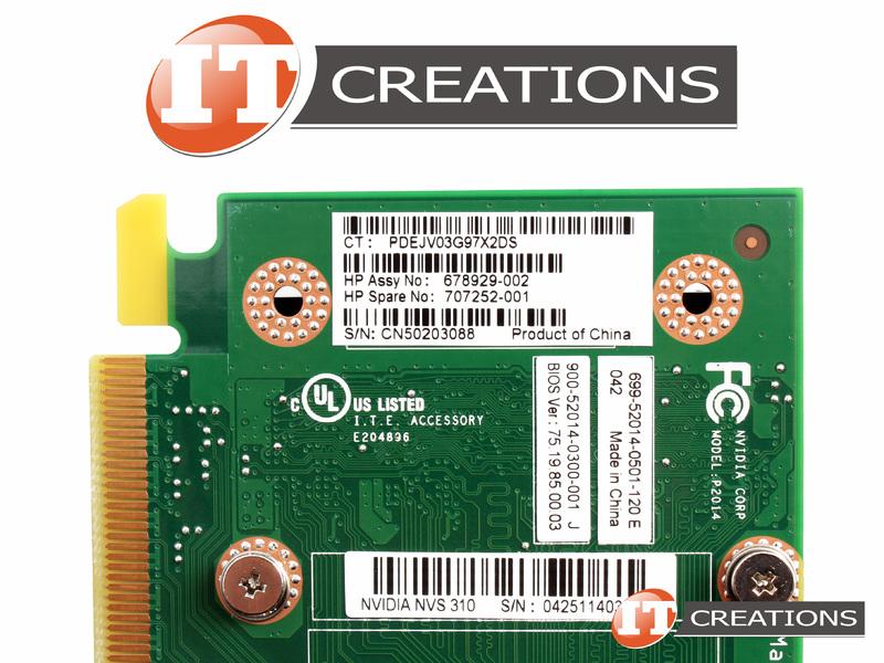 HP NVIDIA NVS 310 GPU 512M GRAPHICS PROCESSING UNIT VIDEO CARD  678929-002-HIGH P