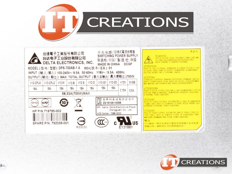 HP POWER SUPPLY 700W 100-240V NON REDUNDANT FOR HP Z440 WORKSTATION  719795-002