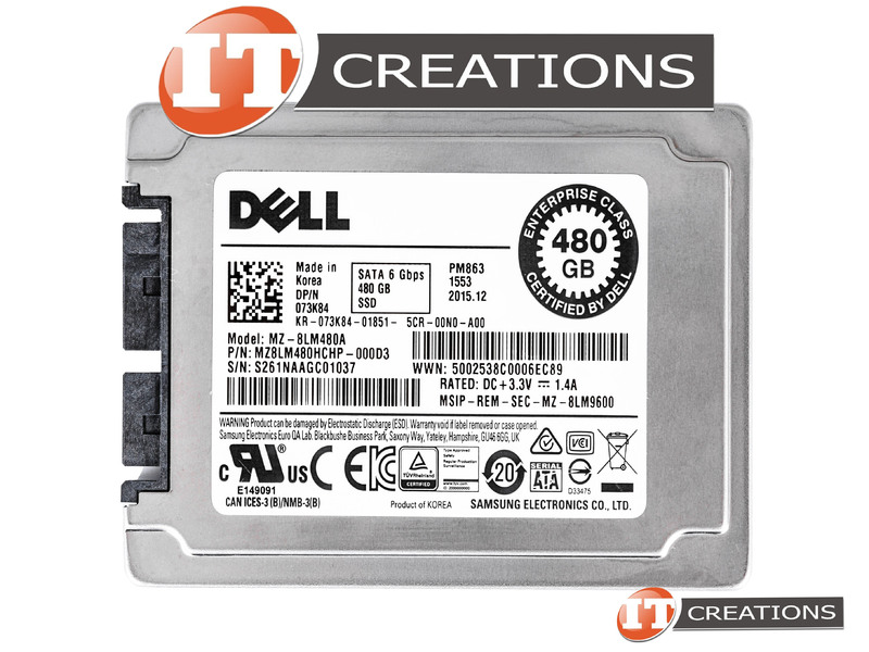 DELL 480GB TLC USATA 1 8 ENTERPRISE READ INTENSIVE 6GB/S SOLID STATE DRIVE  73K84