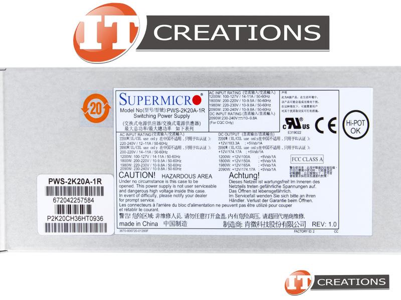 SUPERMICRO POWER SUPPLY 2200W 220-240V HOT PLUG FOR SUPERMICRO SUPERSERVER  CSE-F418BC2 1U NODE ( SYS-F619P2-RT ) - REDUNDANT 2090W 230-240V 1980W